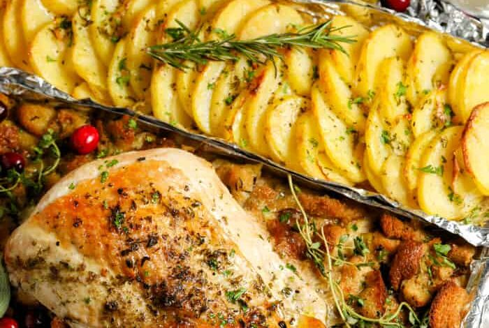 One Pan Turkey Dinner (5 Dishes in 1 Pan!)