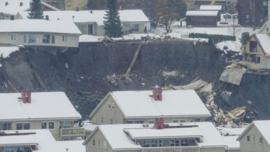 Photo of 11 people missing after landslide strikes southern Norway, leaving large crater