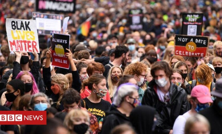 Australia Day: Thousands defy Covid rules in 'Invasion Day' protests