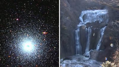 Space and waterfall