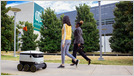 "Photo of States are increasingly granting small delivery robots generous access to city sidewalks; in PA, they are classified as ""pedestrians"" and can drive up to 12 mph (Jennifer A. Kingson/Axios)"
