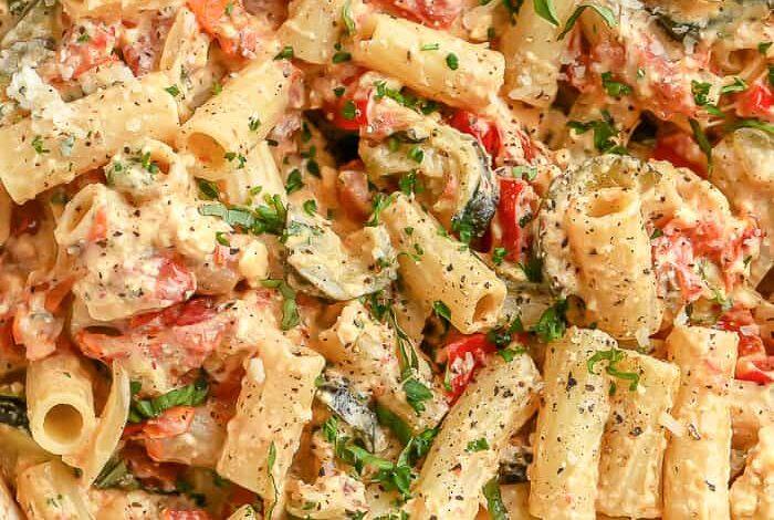 roasted veggie feta pasta