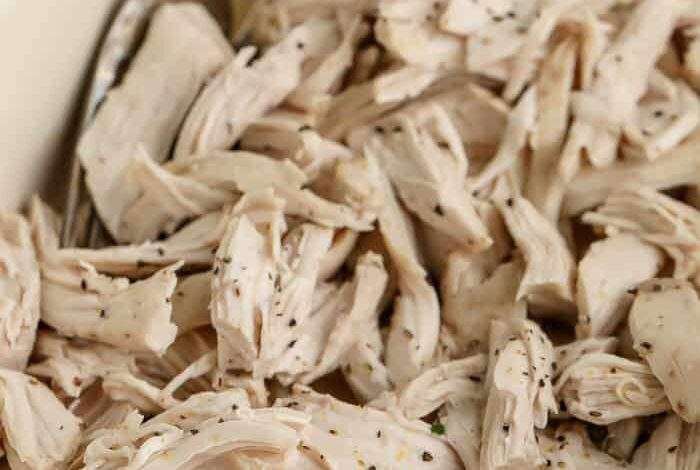 close up of oven shredded chicken breasts